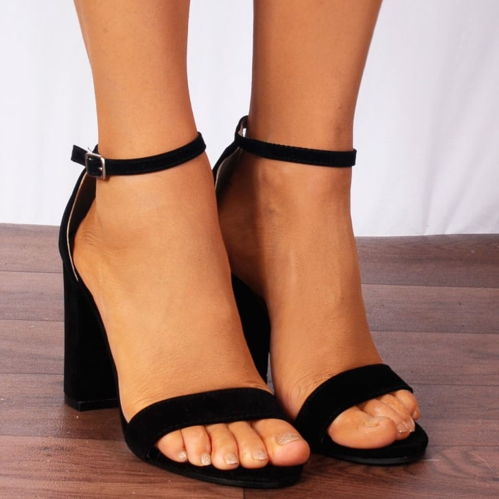51afc3a9a24b5 Shoe Closet Ladies Db57 Black Faux Suede Peep Toes Ankle Strap High Heels  Strappy Sandals - Shoe ...