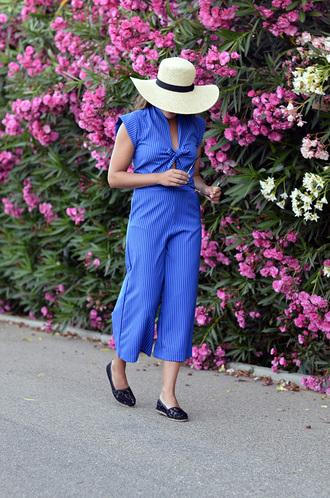 jumpsuit hat tumblr cropped jumpsuit blue jumpsuit sun hat espadrilles shoes