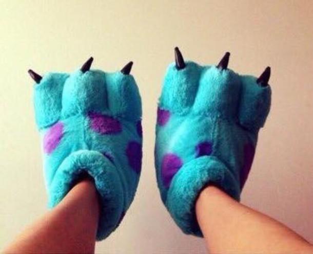 shoes slippers blue tumblr monsters inc sleepwear sleepers slip on shoes smoking slippers pajamas unicorn shark panda