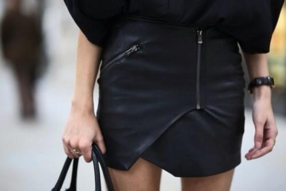 designer skirt black fashion zipper matte