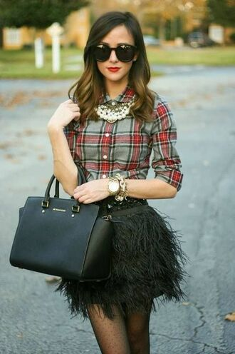 skirt black skirt fluffy mini black feathers