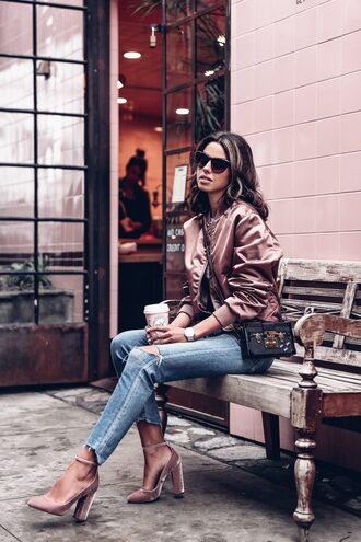 jacket tumblr pink jacket bomber jacket satin bomber pink bomber jacket denim jeans blue jeans ripped jeans shoes pink heels pink shoes velvet velvet shoes high heels heels pumps high heel pumps bag sunglasses