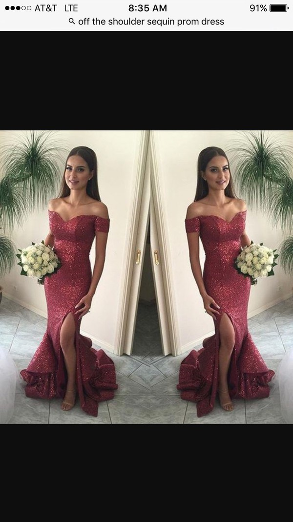 dress prom dress prom prom mermaid dress sequin dress slit dress beautiful red dress burgundy