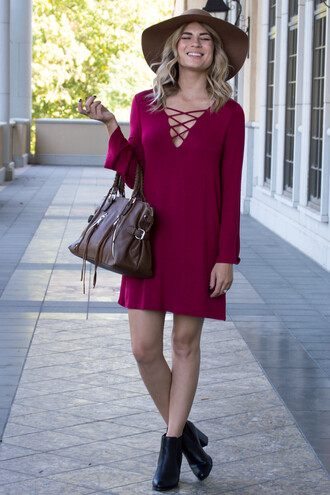 dress lace up top lace up dress burgundy burgundy dress fall colors fall dress fall outfits boots floppy hat purse black long sleeves long sleeve dress love cute cute dress ootd fashion style trendy