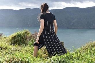 dress stripes black slit t-shirt dress