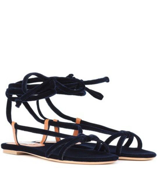 Gabriela Hearst velvet sandals sandals velvet blue shoes