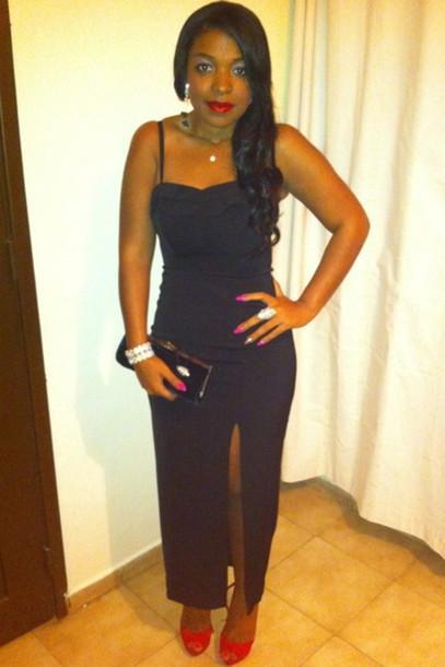 Dress Black Dress Side Slit Slit Dress Tight Fit Evening Dress