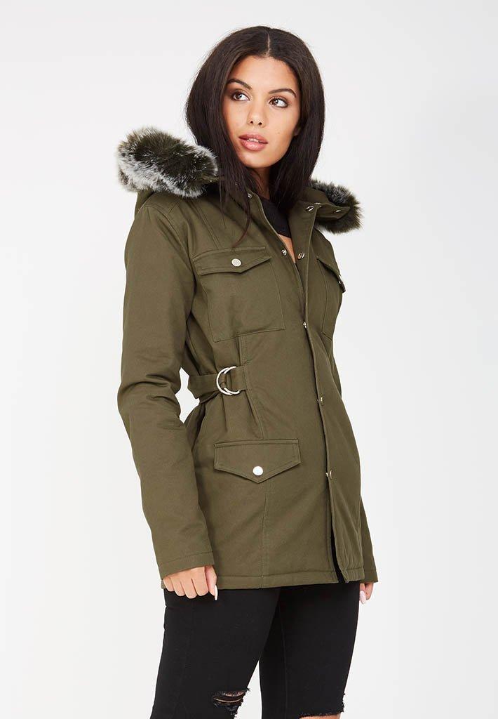 Fur Hooded Utility Jacket - Khaki