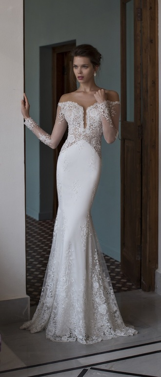 dress off-white wedding dress 2016 wedding dresses mermaid wedding dress vintage wedding dress lace wedding dress sexy wedding dreesses long sleeve wedding dress