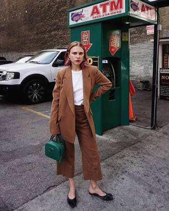 coat tumblr camel coat camel pants culottes palazzo pants cropped pants top white top bag green bag chanel chanel bag flats slide shoes fall outfits earrings jewels jewelry blogger always judging office outfits work outfits
