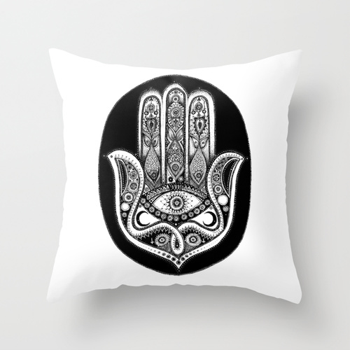 Hand of Fatima Illustration Throw Pillow by Ellen Merchant | Society6