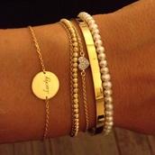 jewels,gold bracelet,jewelry,pearl,bracelets,heart,white pearl,gold,silver