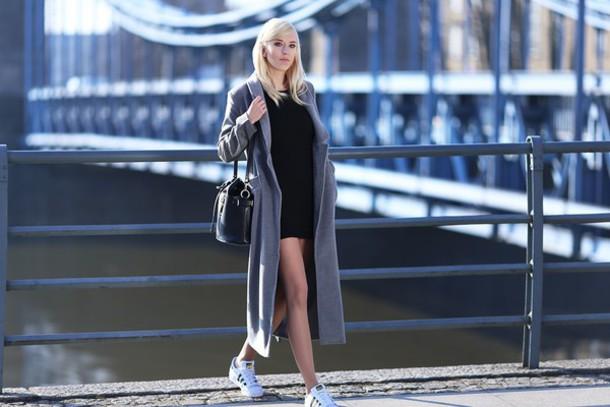 meri wild blogger grey coat long coat little black dress coat dress jewels bag shoes make-up