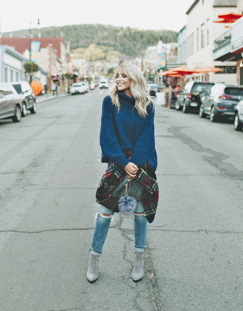 sweater tumblr blue sweater knit knitwear knitted sweater sweater weather denim jeans blue jeans ripped jeans boots ankle boots ugg tall fox fur 8688 grey boots