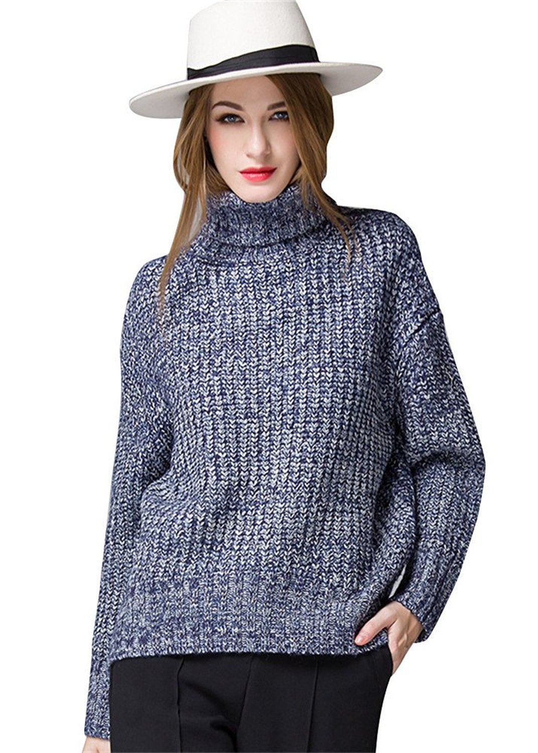Women's Turtleneck Chunky Knit Pullover Sweaters, Blue, One size ...