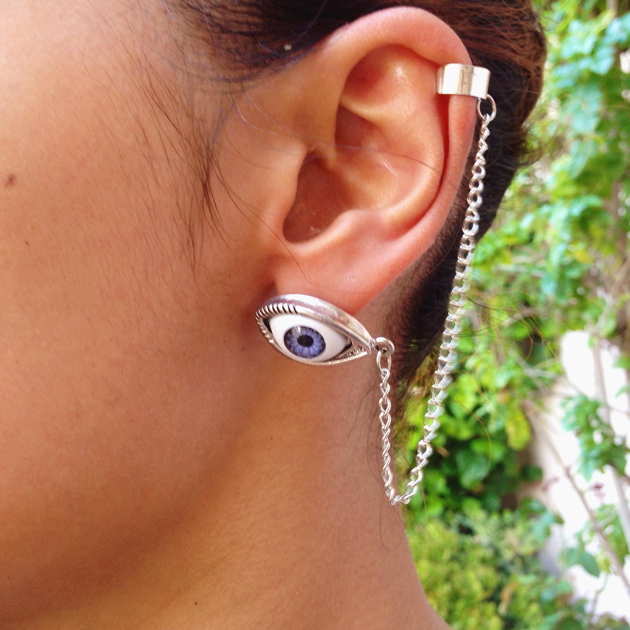 Evil eye ear cuff chain – gold soul