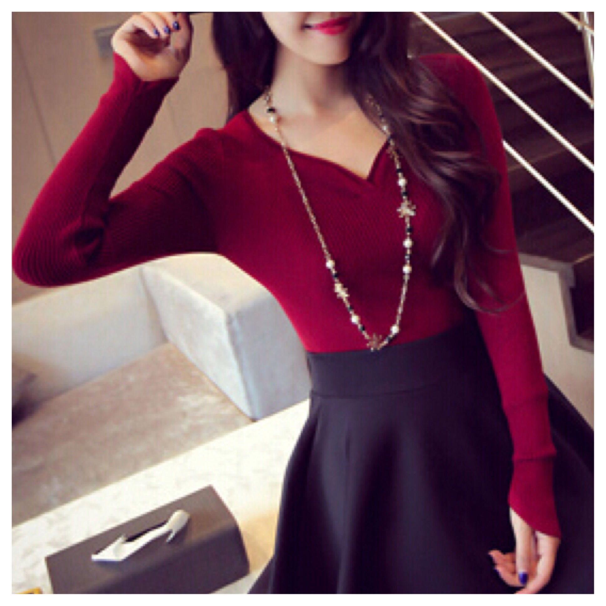 Sweetheart neck line knit top pullover