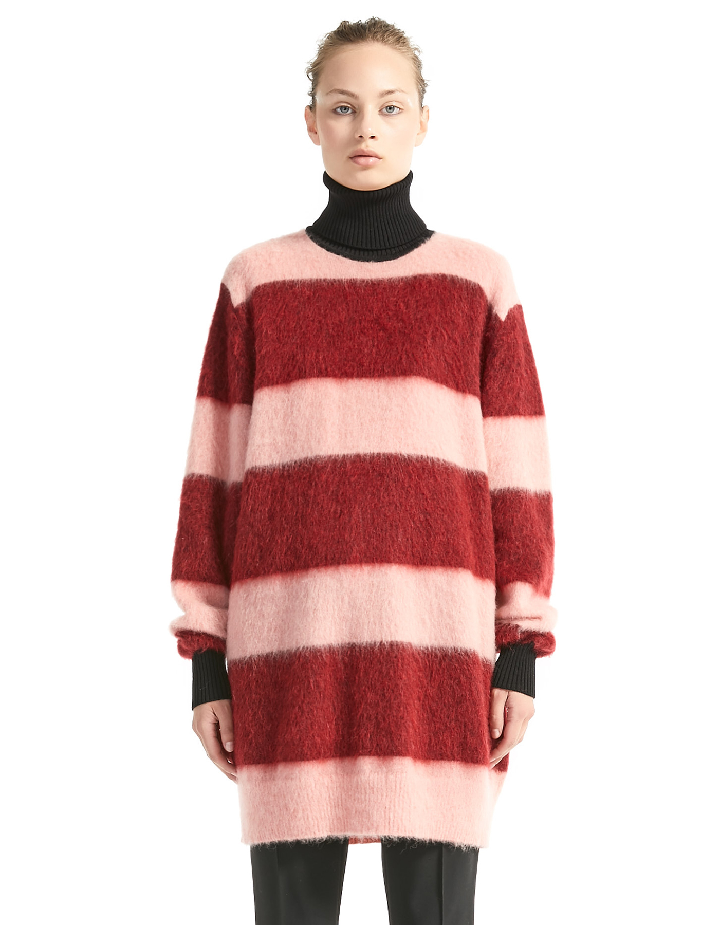 Maxi Stripe Mohair Sweater Dress, pink red - Sportmax