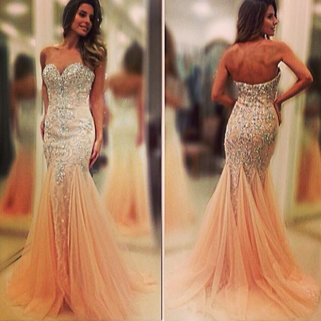 2015 New Sleeveless Sweetheart Crystal Prom Dresses Backless High ...