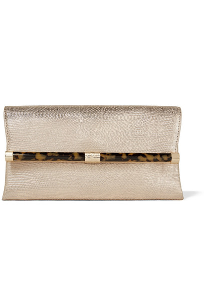 leather clutch metallic clutch leather gold bag