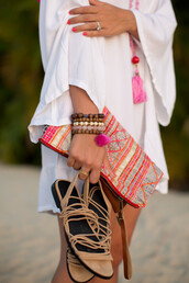 gal meets glam,blogger,beach,flats,pattern,pouch,white shirt,summer outfits,dress,bag,jewels,shoes