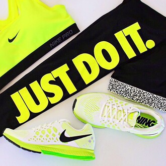 neon yellow sportswear fit leggings just do it nike air pegasus sportsbra sportbra run kaylaitsines nike pro blouse shoes