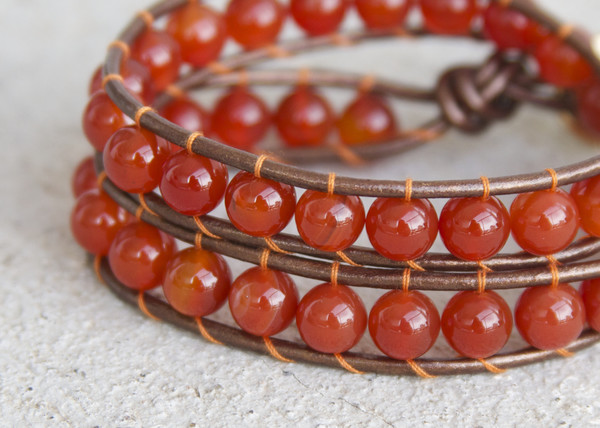 jewels beaded leather wrap double wrap bracelet semi-precious beaded bracelet wrap around bracelet carnelian bracelet beads and leather natural leather eco friendly eco friendly leather bracelet leather wrap bracelet