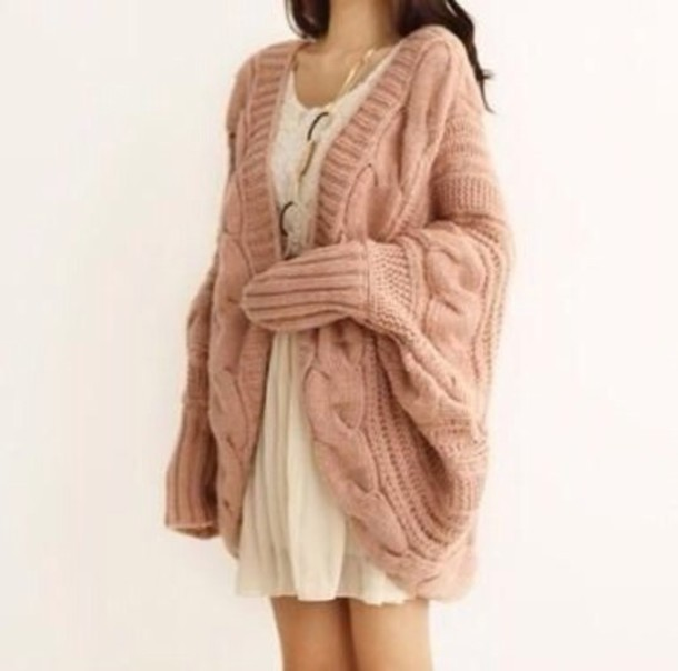 Oversized Cable Knit Cardigan Sweater 54