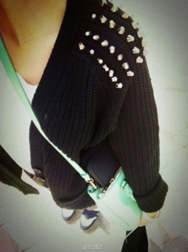 Sweater Studded Sweater Black Studs Wheretoget