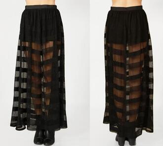 skirt sheer mesh maxi organza stripes long mesh skirt