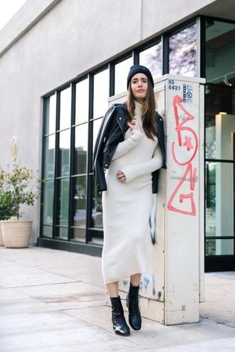 dress black jacket leather jacket boots midi dress knitted dress knitwear white dress bodycon dress sweater dress jacket beanie