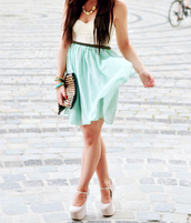skirt,teal skirt,studded belt,white top