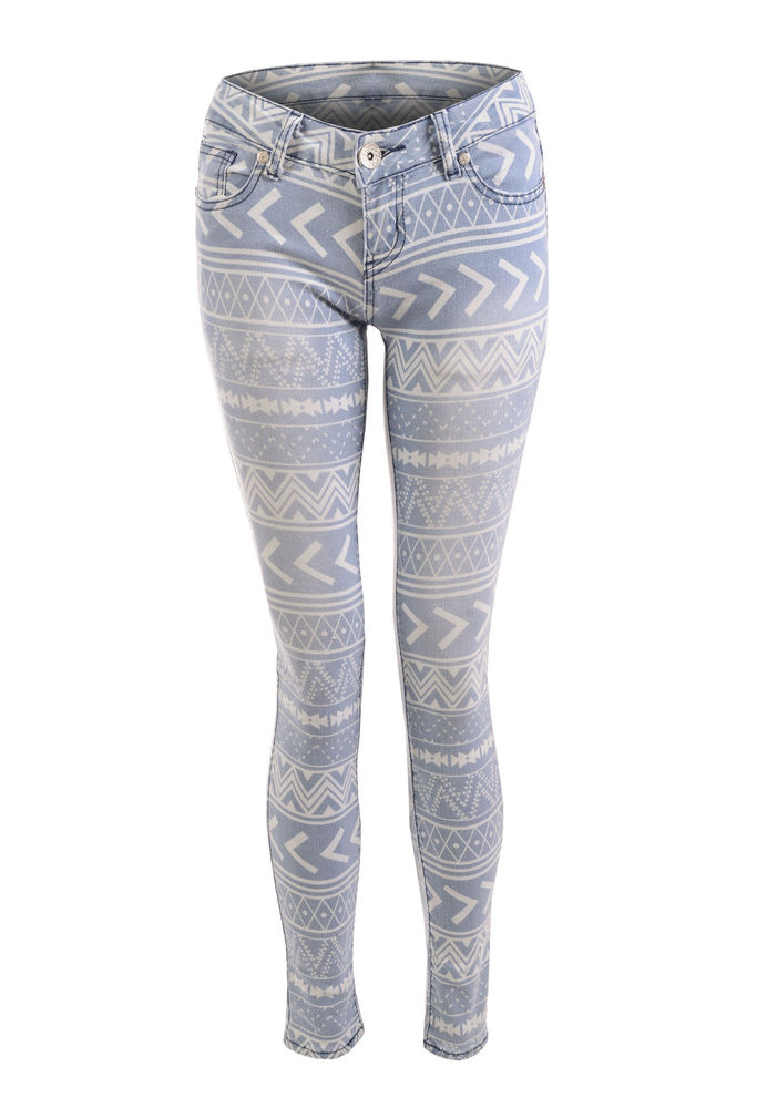 LADIES MID RISE AZTEC PRINT SUPER SKINNY FIT ACID WASH STRETCH DENIM JEANS | eBay