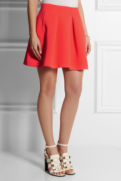 skirt orange pleated neon neoprene mini skirt mini skirt kenzo