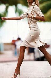dress,khaki,tan,beige,pleated,button down,collar