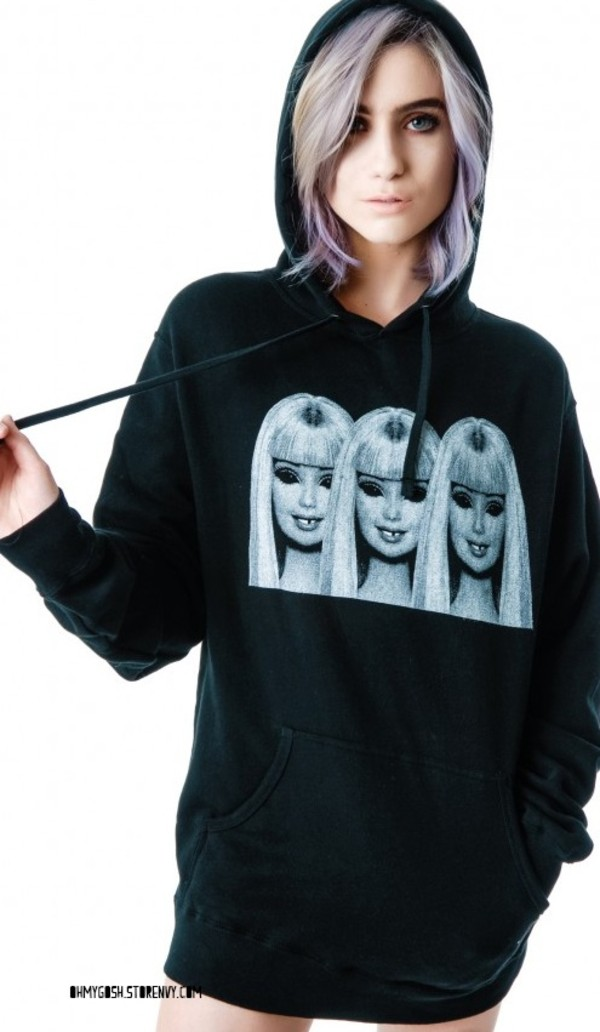 sweater dope badass barbie riot society grunge black oversized sweater skeleton dollskill