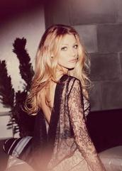 dress,lace dress,blake lively,open back,scoop back,black