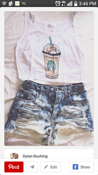 starbucks coffee t-shirt shorts