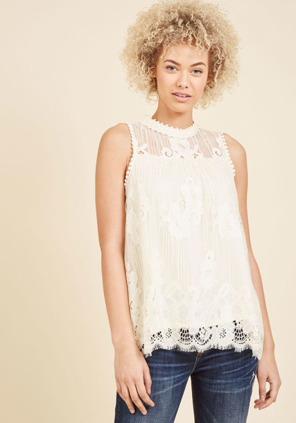 Tw0485ayy tank top top retro high light lace white