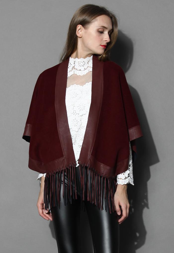 Leather Tassel Jockey Cape in Wine - Retro, Indie and Unique Fashion