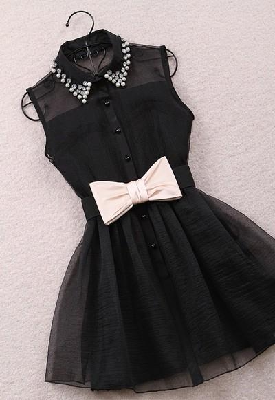 Pearl diamond lapel sleeveless chiffon gauze tutu Belt Black · Outletpad · Online Store Powered by Storenvy