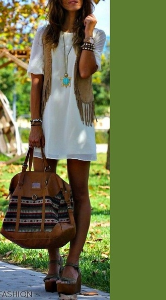 bag american native aztec tribal pattern stripes jewels jacket boho chic boho bohemian dress leather brown brown leather bag white dress ripped hippie hippie chic