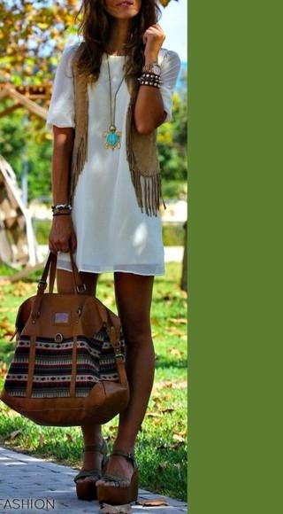 stripes distressed bag american native aztec tribal pattern jewels jacket boho chic boho bohemian dress bohemian leather brown brown leather bag white dress hippie hippie chic