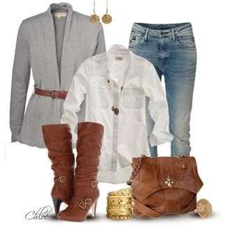 bangles shirt bracelets top shoes boots high heels high heel boots brown boots chestnut boots blouse jeans pants bag purse satchel bag brow leather satchel cardigan grey cardigan earrings buckles clothes outfit sweater
