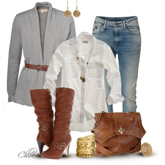shoes buckles boots high heels high heel boots brown boots chestnut boots shirt blouse top jeans pants bag purse satchel brow leather satchel cardigan grey cardigan earrings bracelets bangles clothes outfit sweater