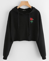 sweater,embroidered,girly,black,hoodie,rose,crop,cropped sweater
