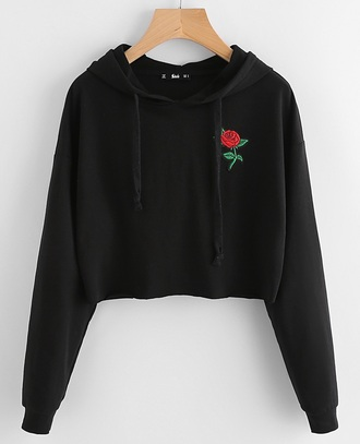 sweater embroidered girly black hoodie rose crop cropped sweater