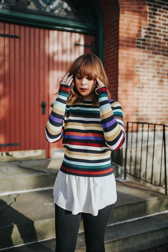 sweater tumblr stripes striped sweater shirt white t-shirt t-shirt denim jeans black jeans 90s style