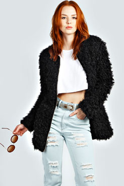 Royah Zip Up Faux Fur Coat
