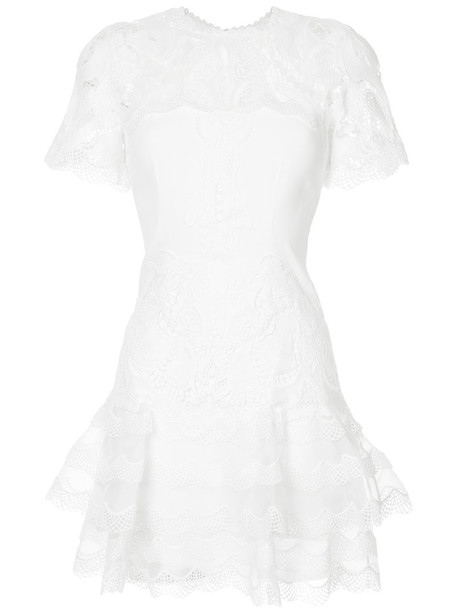 dress embroidered women spandex lace white